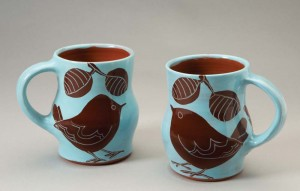 Bird Mugs by Lisa Kovatch